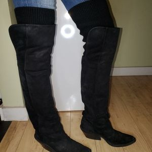 Givenchy suede over the knee high cowboy boots black size 39